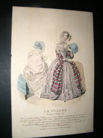 Le Follet C1840's Hand Coloured Fashion Print 851